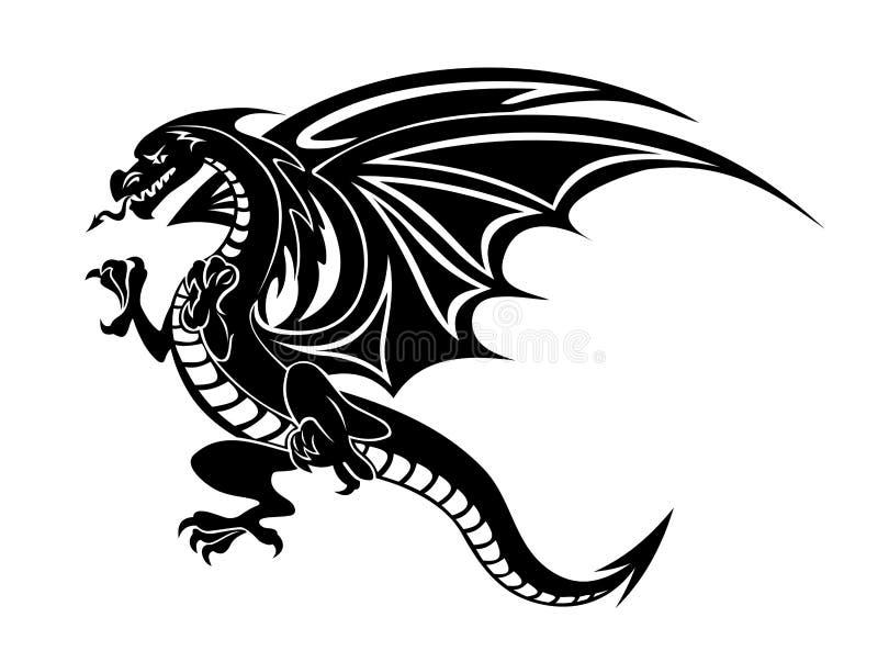 Gniewny czarny smok ilustracji