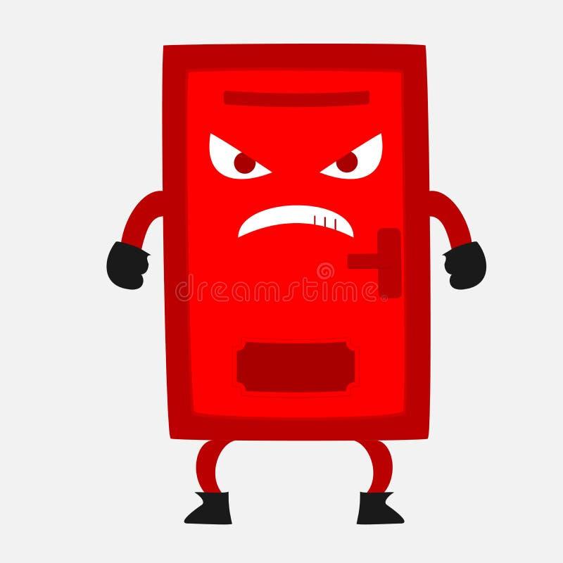 Gniewny Czerwony Drzwiowy kreskówki ilustraci wektor fotografia stock