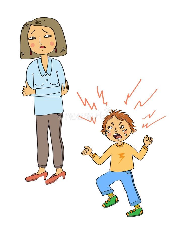Gniewny dzieciak i smutna matka ilustracji