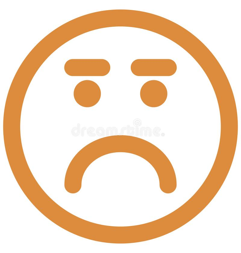 Gniewny, emoticons Wektorowa Odosobniona ikona kt?ra mo?e ?atwo redagowa? lub modyfikowa? ilustracja wektor