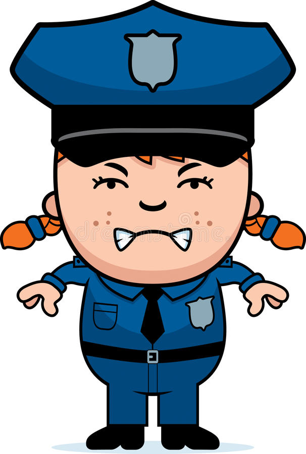 Gniewny funkcjonariusz policji ilustracja wektor