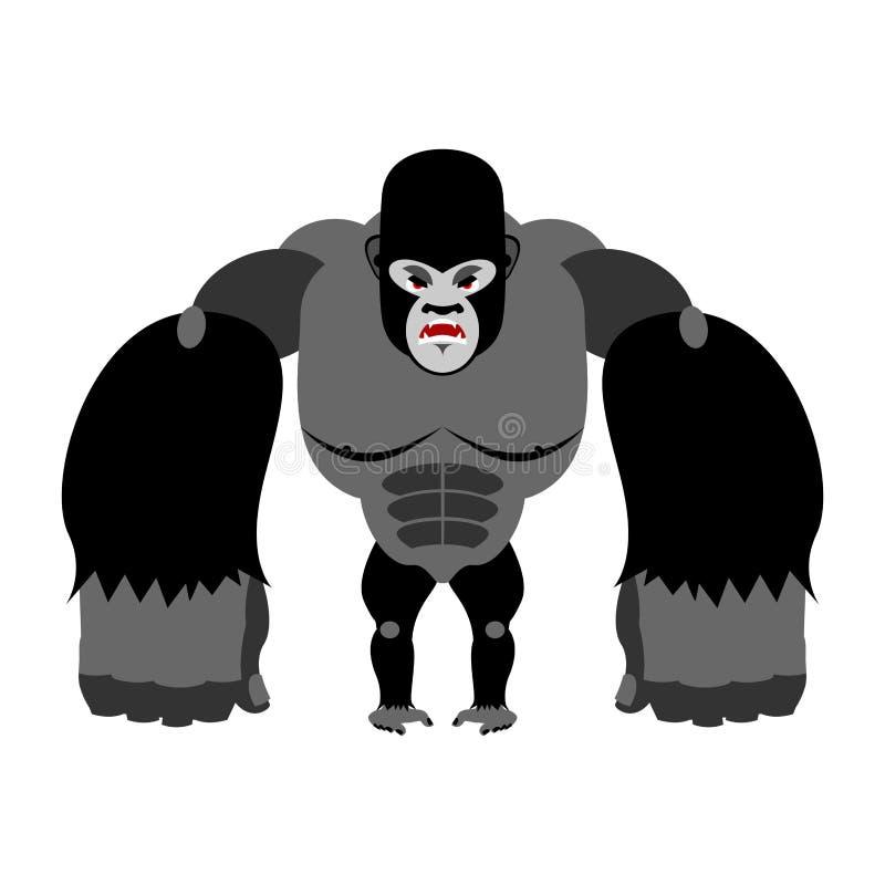 Gniewny goryl na swój tylnych nogach Agresywna małpa na białym backg royalty ilustracja
