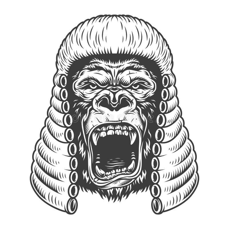 Gniewny goryl w monochromu stylu royalty ilustracja