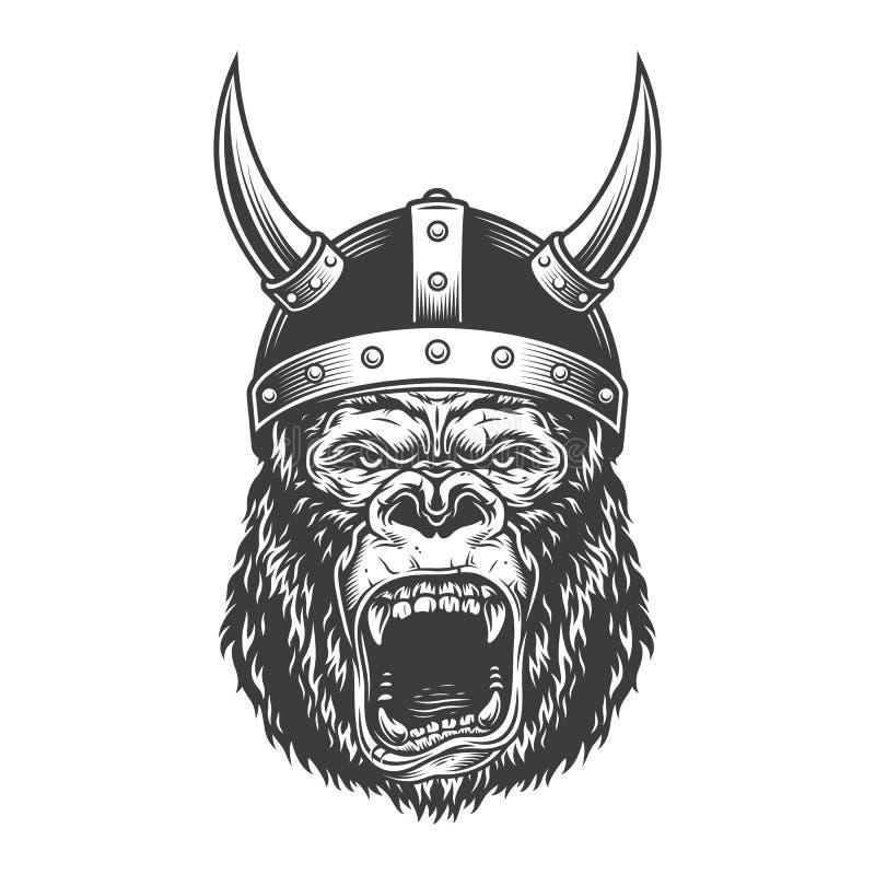 Gniewny goryl w monochromu stylu ilustracji