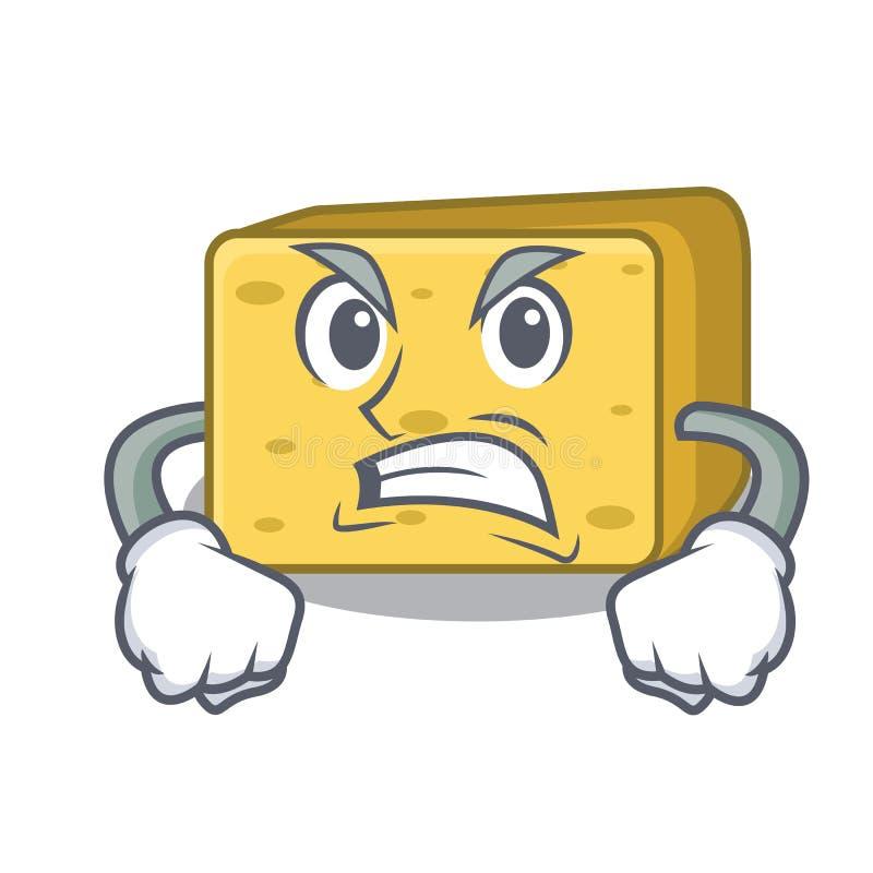 Gniewny gouda ser składa kreskówkę ilustracja wektor