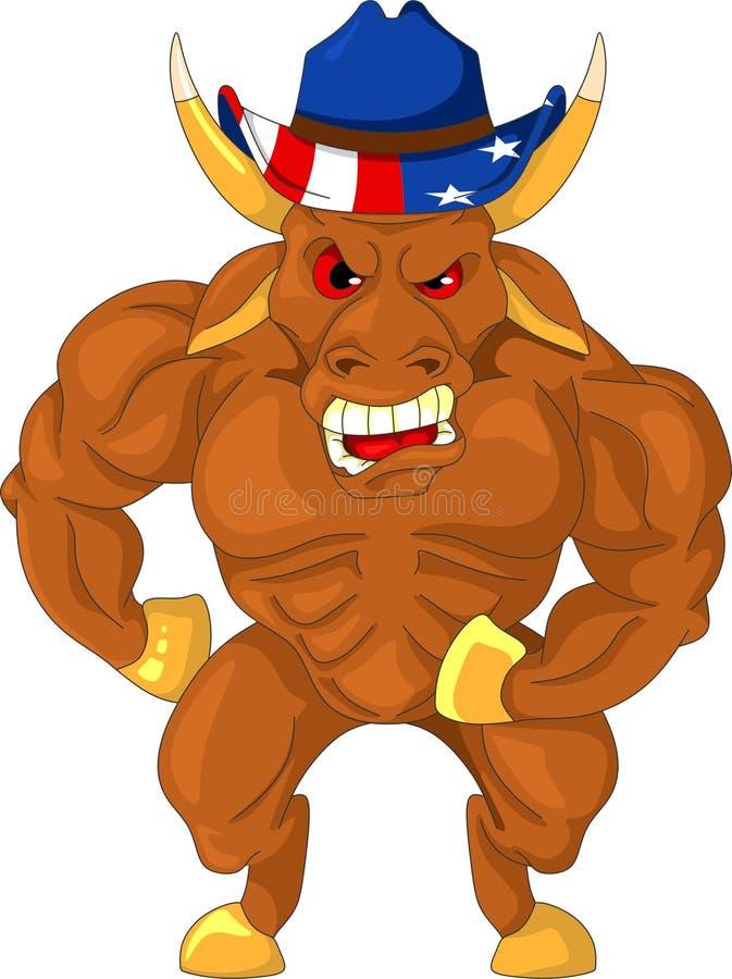Gniewny i agresywny byk royalty ilustracja