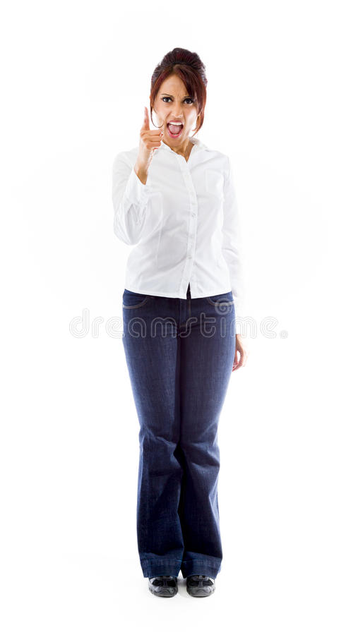 Download Gniewny Indiański Młodej Kobiety łajanie Someone Odizolowywający Na Białym Tle Zdjęcie Stock - Obraz złożonej z kolor, azjata: 41951216
