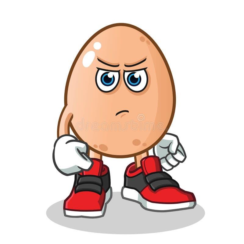 Gniewny jajko z poncz maskotki kreskówki wektorową ilustracją ilustracji