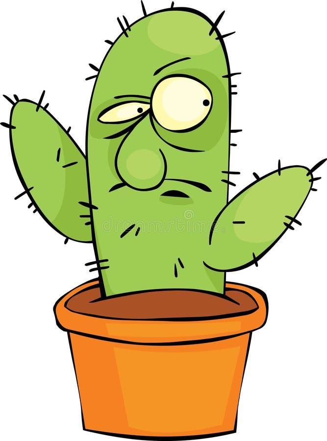 Download Gniewny kaktus ilustracja wektor. Ilustracja złożonej z garnek - 15560224