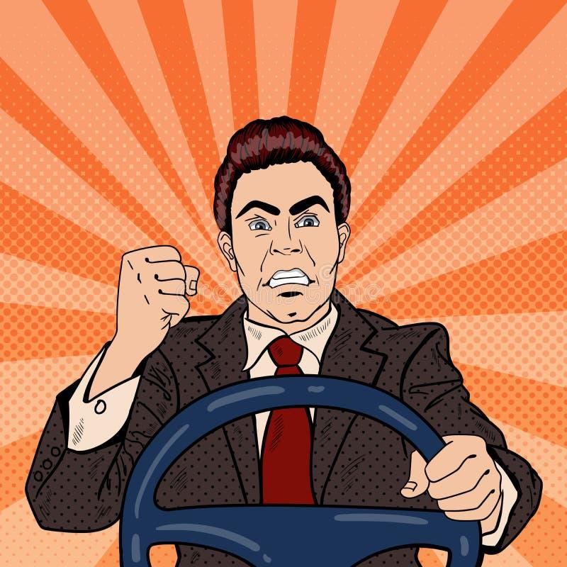Gniewny kierowcy mężczyzna Pokazuje jego pięści Drogową furię Wystrzał sztuka