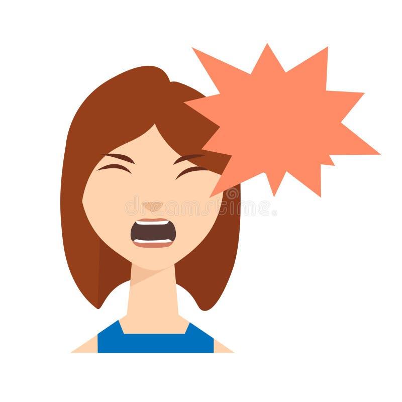 Gniewny kobieta wrzask wektor royalty ilustracja