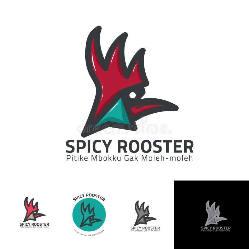 Gniewny koguta kurczaka logo lub maskotka szablon dla fasta food ilustracji