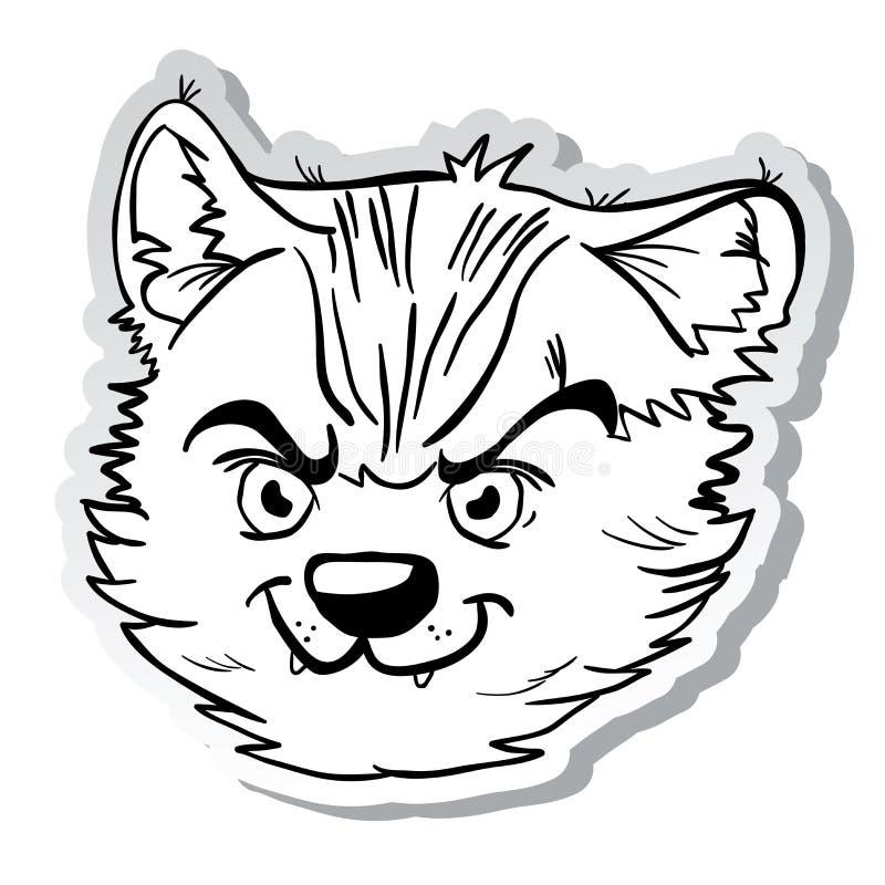 Gniewny kota majcher czarny i biały ilustracja wektor