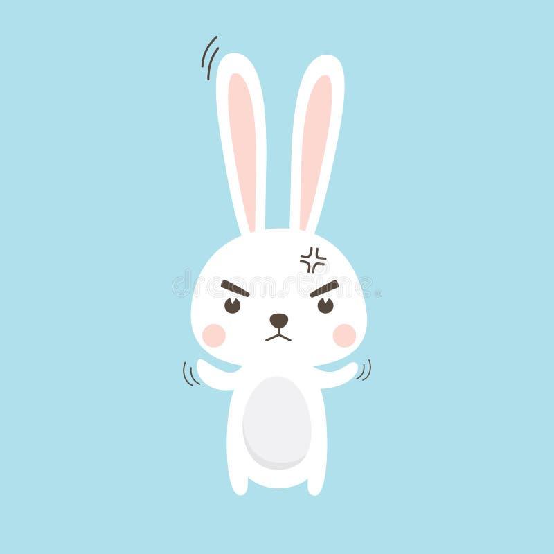 Gniewny królik Wielkanocnego królika Wektorowy ilustracyjny postać z kreskówki ilustracja wektor
