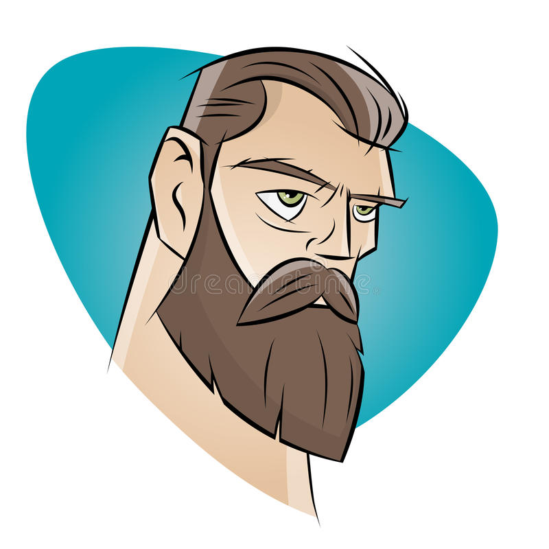 Gniewny kreskówka mężczyzna z brodą royalty ilustracja