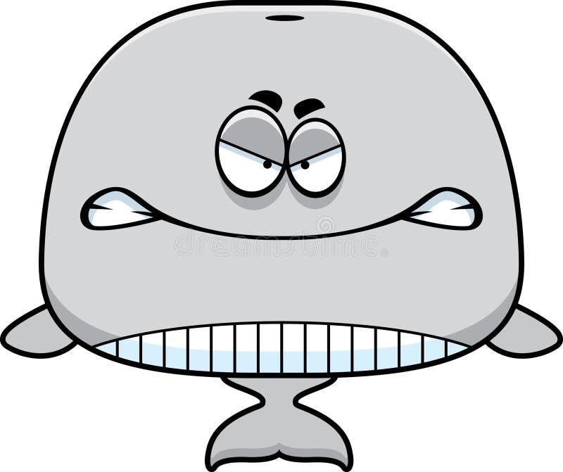Gniewny kreskówka wieloryb royalty ilustracja