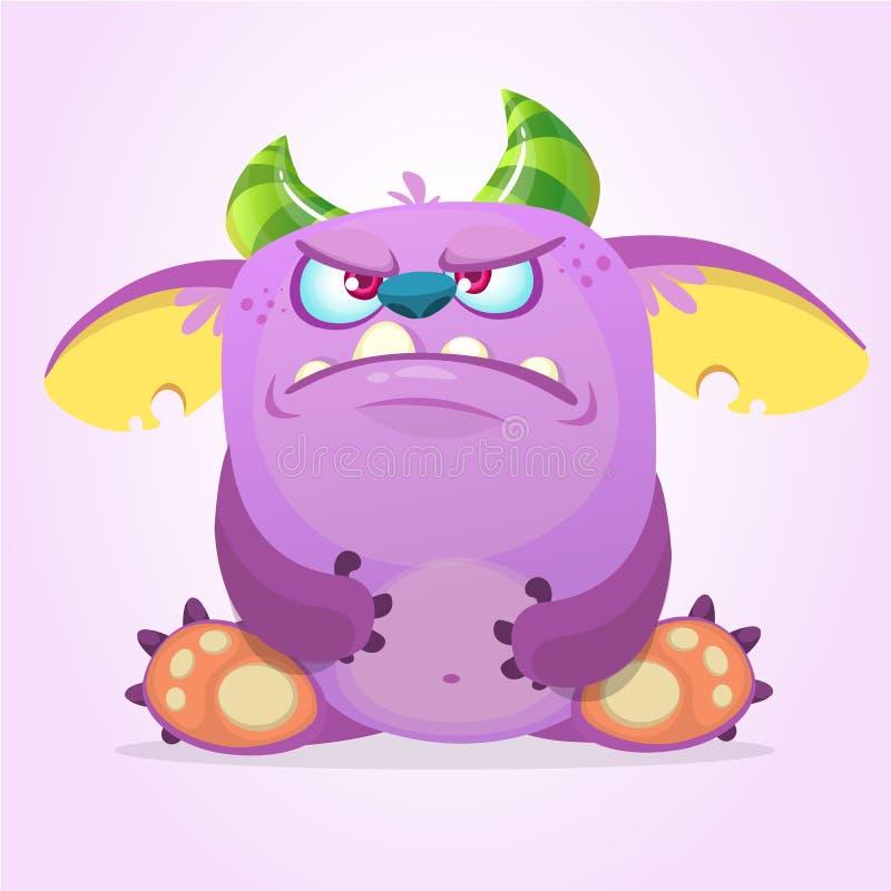 Gniewny kreskówki dziwożony potwór również zwrócić corel ilustracji wektora ilustracji