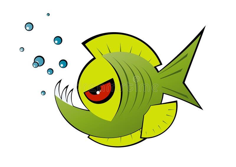 gniewny kreskówki zieleni piranha ilustracja wektor