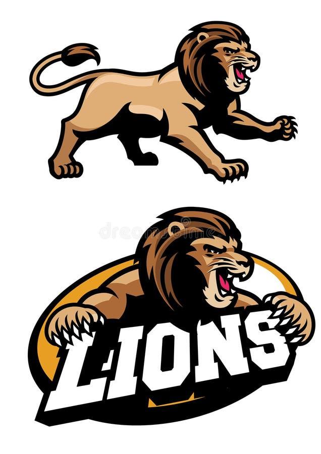 Gniewny lew maskotki set ilustracji