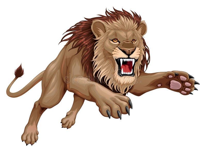 Gniewny lew skacze royalty ilustracja
