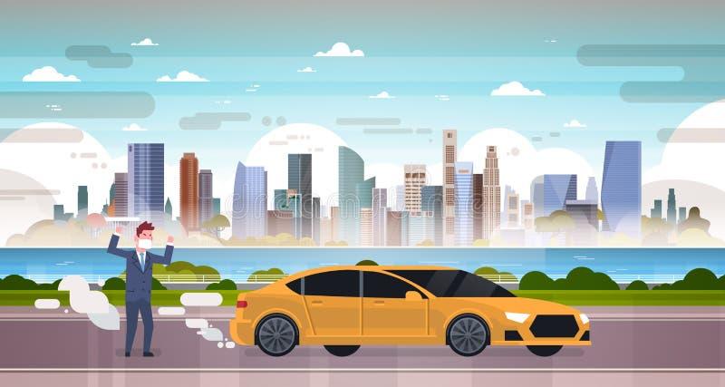 Gniewny mężczyzna w maskowych samochodowych emisjach wydmuchowych gazów dwutlenek węgla nad smog natury zanieczyszczenia miasta k ilustracja wektor