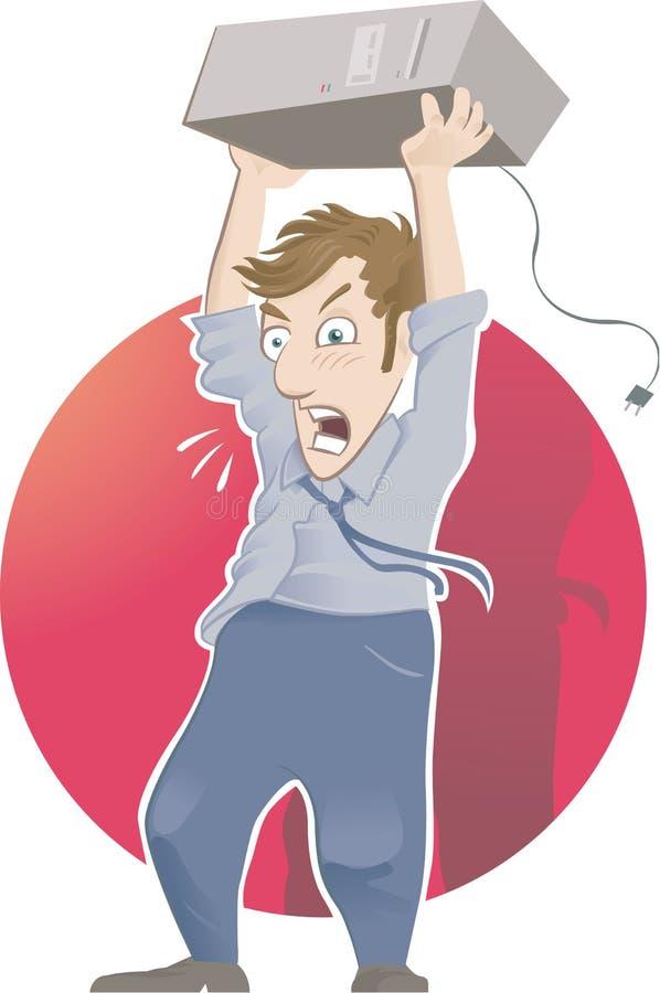 Gniewny mężczyzna z komputerem osobistym zdjęcie royalty free