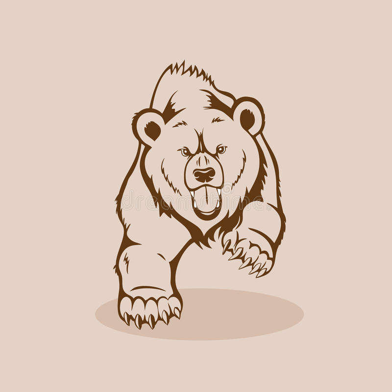 gniewny niedźwiadkowy grizzly ilustracja wektor