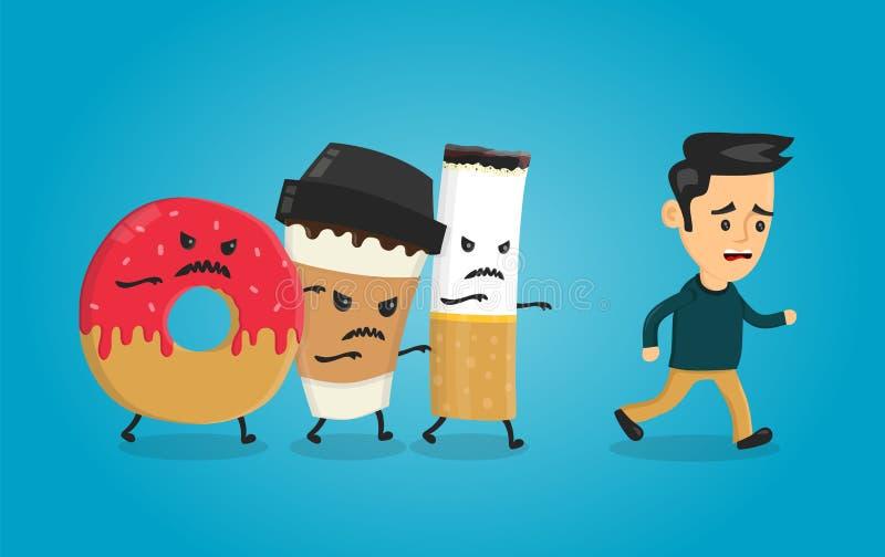 Gniewny pączek, kawowa papierowa filiżanka i papieros, ilustracji