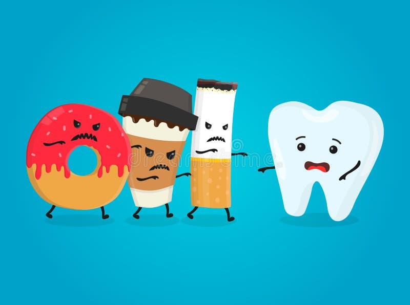 Gniewny pączek, kawowa papierowa filiżanka i papierosowego zwłoki zdrowy ząb, Koszmarów zdrowie bielu zęby Wektorowy płaski posta royalty ilustracja