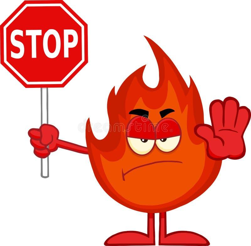 Gniewny Pożarniczy postać z kreskówki Trzyma przerwa znaka royalty ilustracja