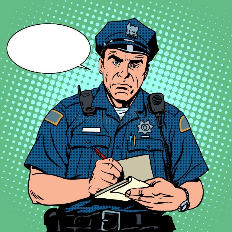 gniewny policjant ilustracji