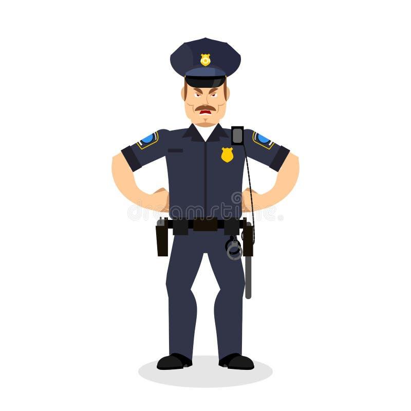 gniewny policjant wrathful policjant Agresywna oficer policja royalty ilustracja