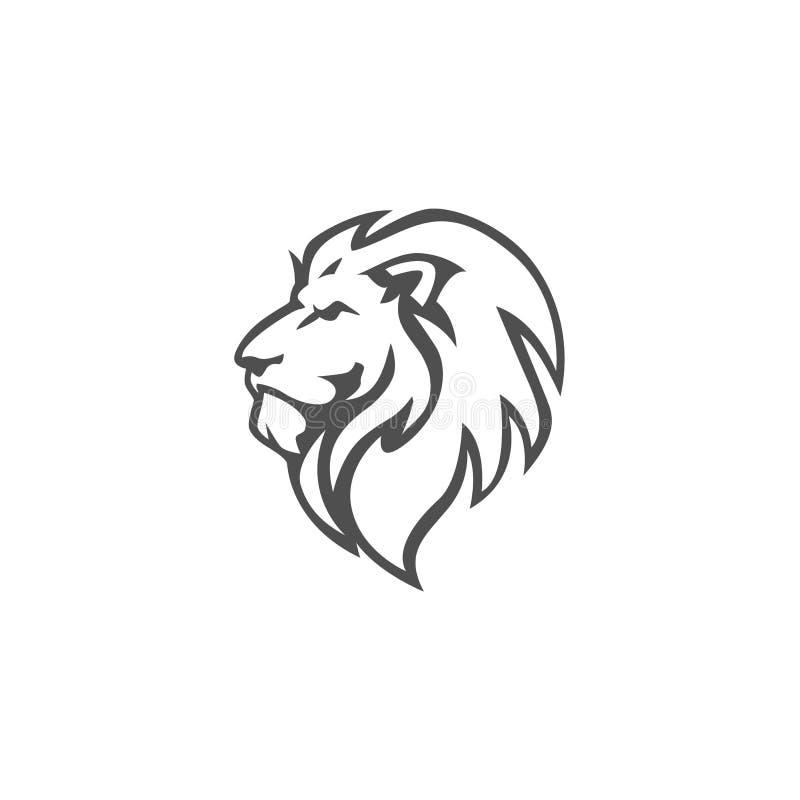 Gniewny, poryka lwa głowa, Czarny I Biały, Wektorowy loga projekt, ilustracja fotografia royalty free