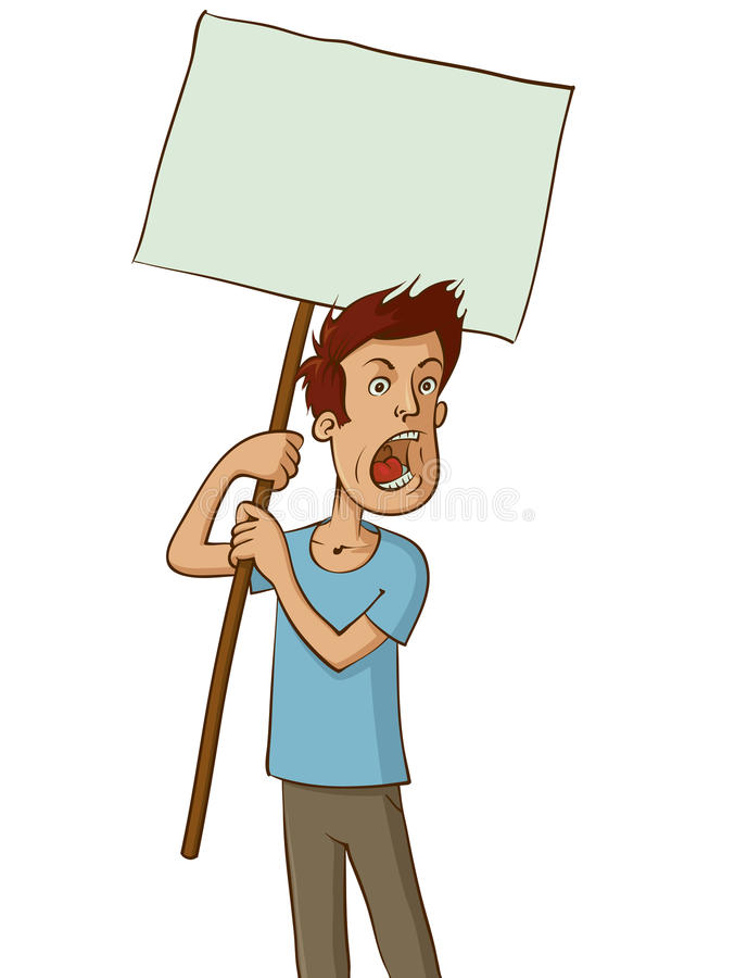 Gniewny protestujący z bielu znakiem ilustracji