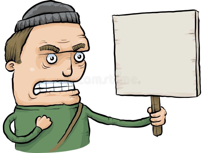 Gniewny protestujący z znakiem ilustracja wektor