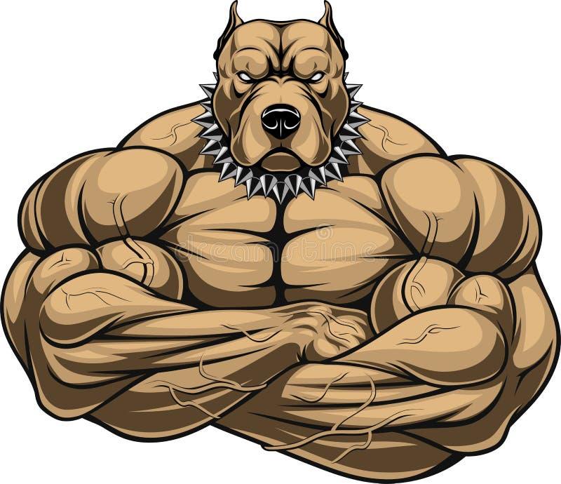 Gniewny psi bodybuilder royalty ilustracja