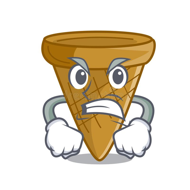 Gniewny pusty opłatka rożek dla lody charakteru royalty ilustracja