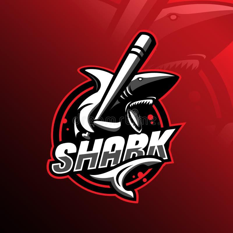 Gniewny rekin maskotki logo projekta wektor z nowożytnym ilustracyjnym pojęcie stylem dla odznaki, emblemata i tshirt druku, gnie royalty ilustracja