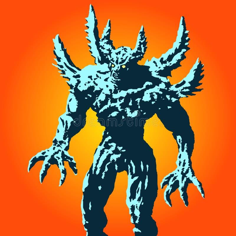 Gniewny rogaty potwór z kolcami stoi gotowego atakować również zwrócić corel ilustracji wektora ilustracji