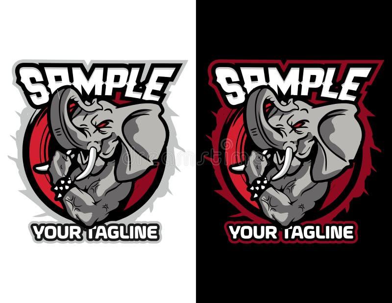 gniewny słoń pokazuje jego arnholding piłki nożnej piłkę nowożytny zwierzęcy maskotka emblemat dla esport loga i koszulki ilustra royalty ilustracja