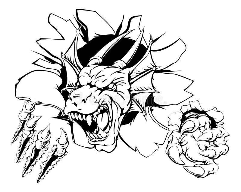 Gniewny smok bawi się maskotki ilustracji