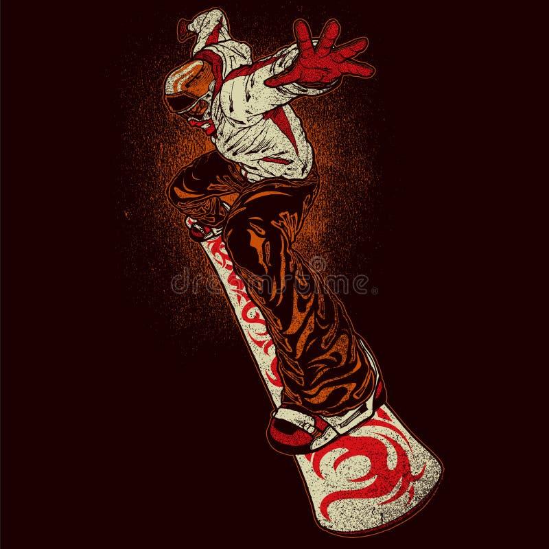 Gniewny snowboarder royalty ilustracja