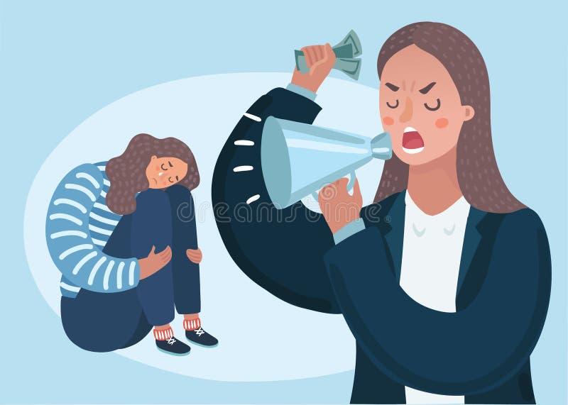 Gniewny spęczenie matki charakter łaja jej płacz niegrzecznej córki Wektorowa płaska kreskówki ilustracja ilustracja wektor