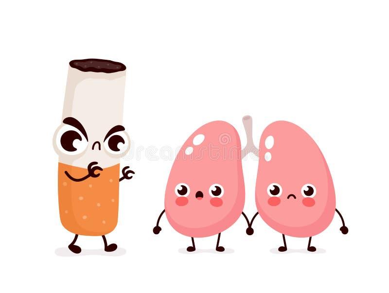Gniewny straszny papierosowy zwłok płuc charakter ilustracja wektor