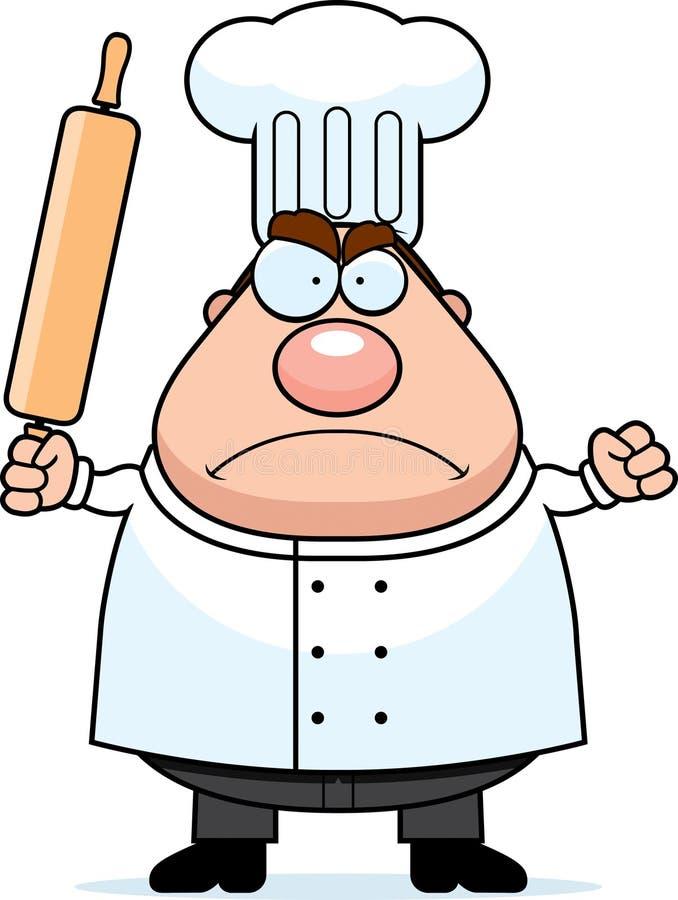 gniewny szef kuchni ilustracja wektor