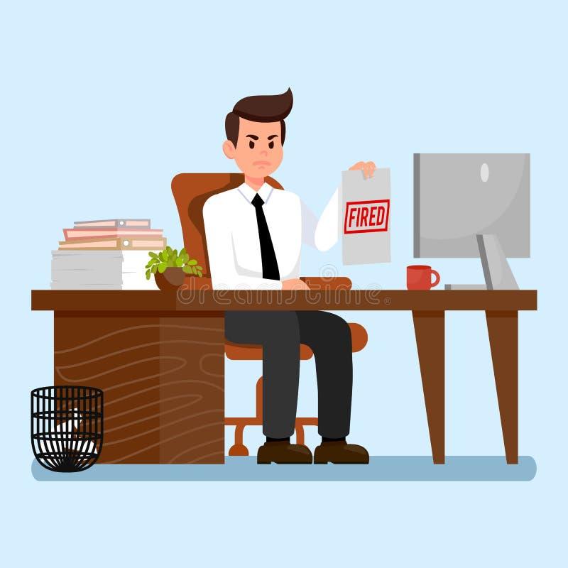 Gniewny szef przy miejsce pracy Płaską Wektorową ilustracją ilustracja wektor