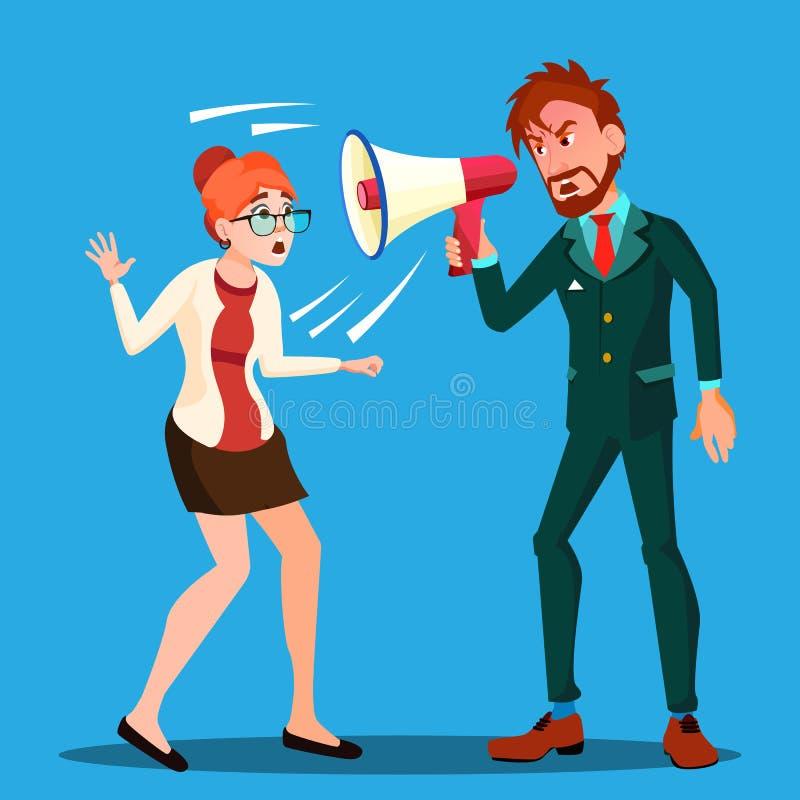 Gniewny szefa mężczyzna Krzyczy W megafonie Przy Straszącym kobiety Empolyee wektorem button ręce s push odizolowana początku ilu royalty ilustracja