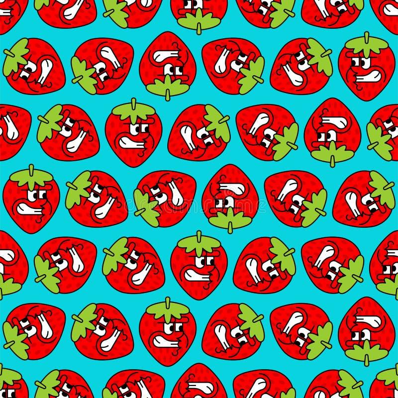Gniewny truskawka wzór bezszwowy Zły jagodowy tło owocowa Wektorowa tekstura ilustracji