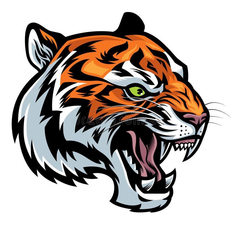 Gniewny tygrys głowy huczenie royalty ilustracja