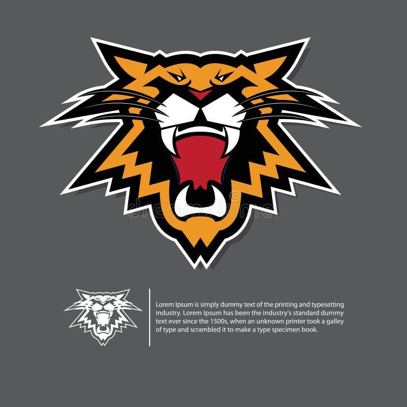 Gniewny tygrysi twarz logo w płaskim projekcie Sporta emblemat na czarnym tle ilustracja wektor
